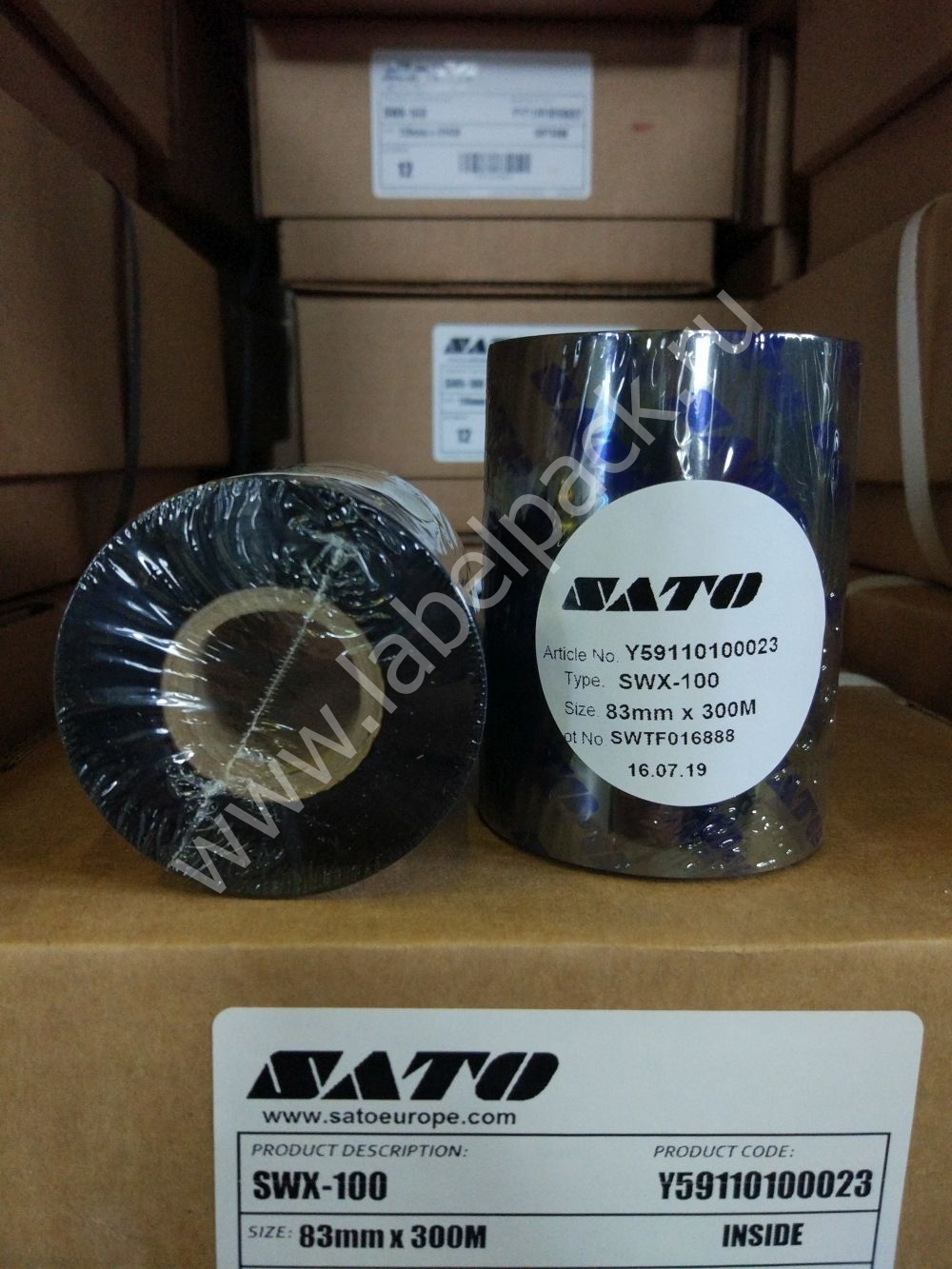 5df87d7cf0cb6 Y59110100023 2 - Риббон - SATO SWX100 WAX 83 x 300 IN