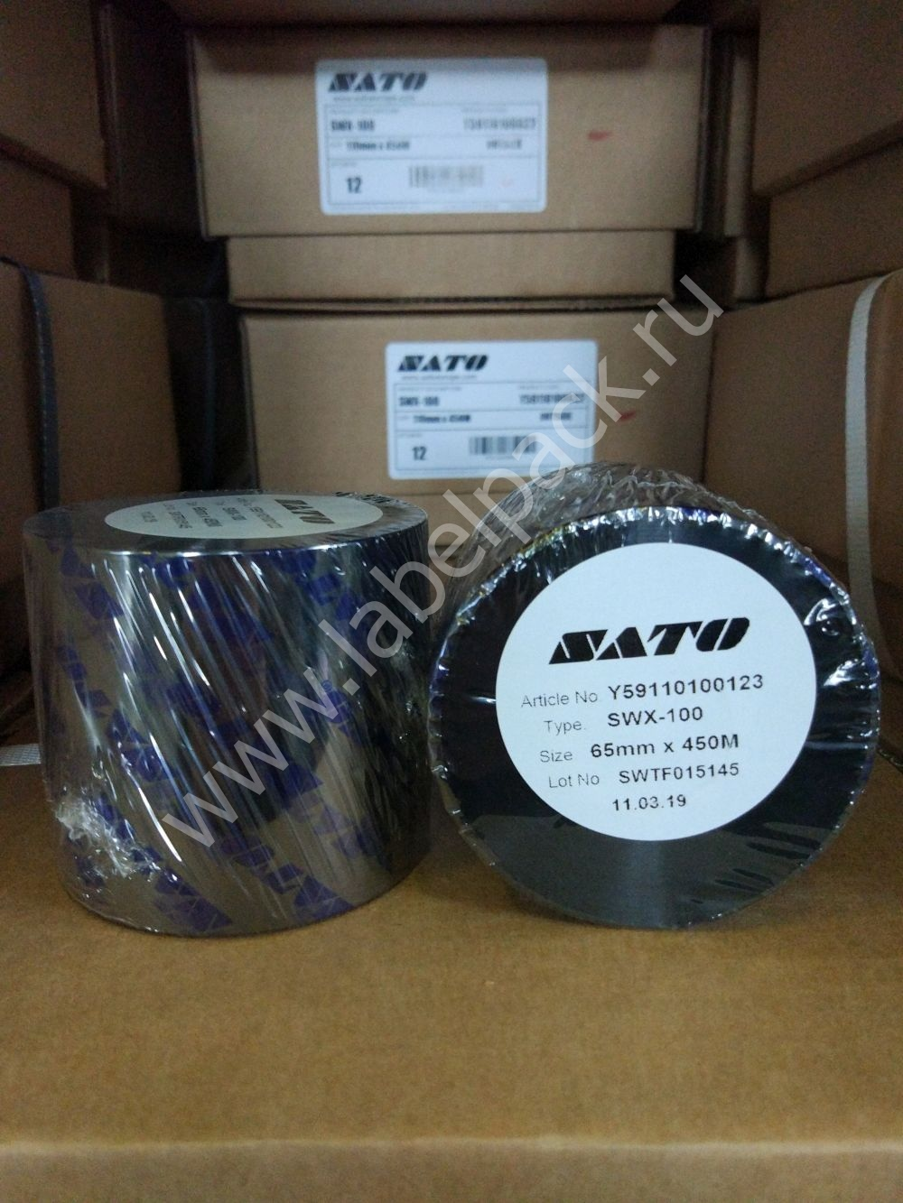 5df8813d70bc5 Y59110100123 - Риббон - SATO SWX100 WAX 65 x 450 IN