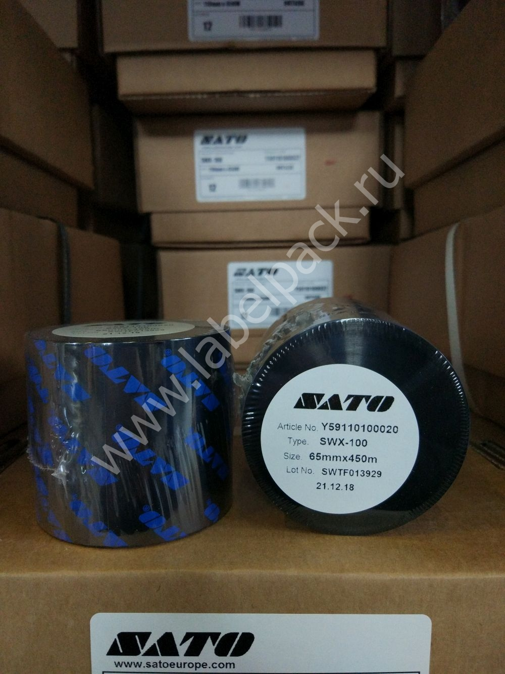 Y59110100020 1 - Риббон - SATO SWX100 WAX 65 x 450 OUT