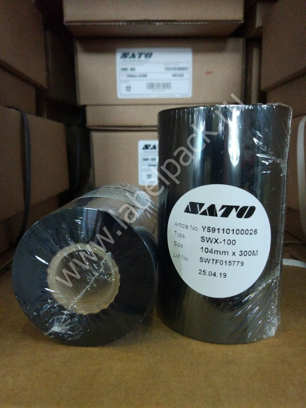 Y59110100026 1 - Риббон - SATO SWX100 WAX 104 x 300 IN