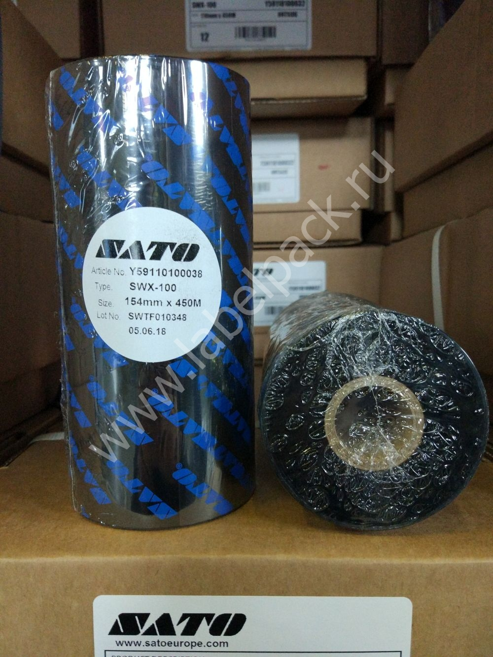 Y59110100038 2 1 - Риббон - SATO SWX100 WAX 154 x 450 OUT