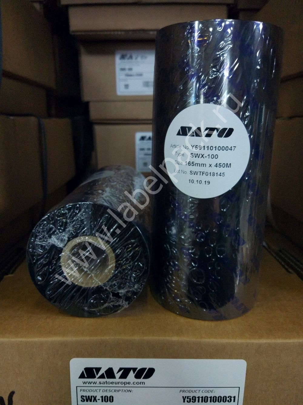 Y59110100047 4 - Риббон - SATO SWX100 WAX 165 x 450 IN